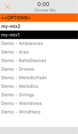 Open Mixes screen
