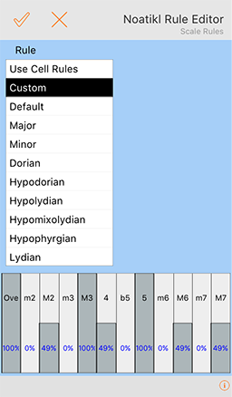 Scale Rule Editor screen