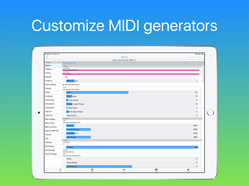 Wotja: Customize MIDI generators