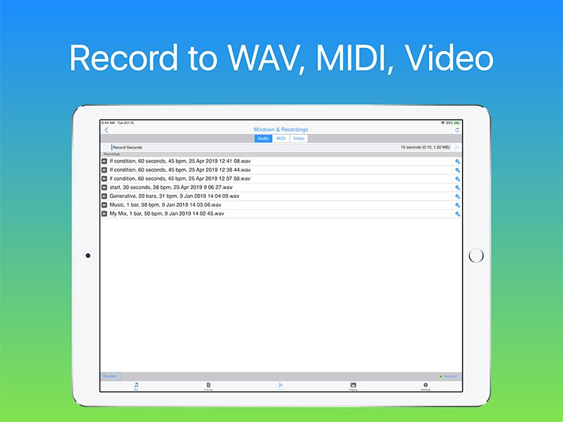 Wotja: Record to WAV, MIDI, Video